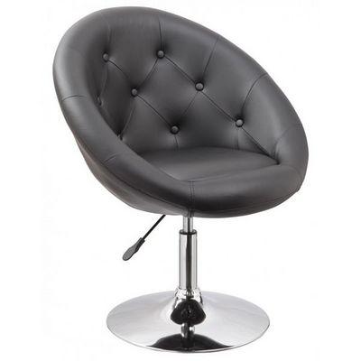 WHITE LABEL - Fauteuil rotatif-WHITE LABEL-Fauteuil lounge pivotant cuir noir