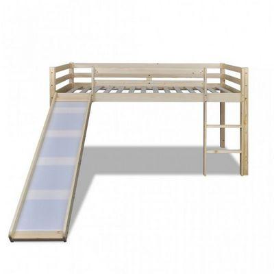 WHITE LABEL - Lit enfant-WHITE LABEL-Lit mezzanine bois avec toboggan et échelle