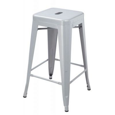 WHITE LABEL - Tabouret de bar-WHITE LABEL-Lot de 2 tabourets de bar factory gris argenté