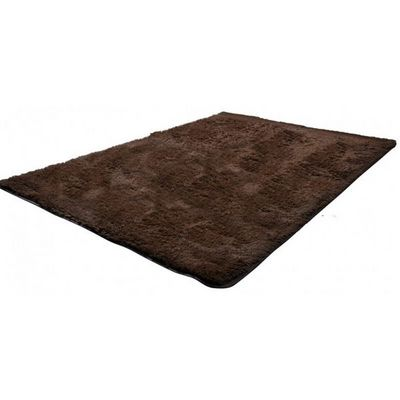 WHITE LABEL - Tapis contemporain-WHITE LABEL-Tapis salon marron poil long taille M