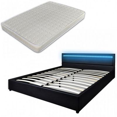 WHITE LABEL - Ensemble literie-WHITE LABEL-Lit led 180 x 200 cm noir + matelas