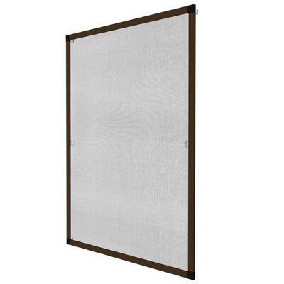 WHITE LABEL - Moustiquaire de fenêtre-WHITE LABEL-Moustiquaire pour fenêtre cadre fixe en aluminium 120x140 cm brun