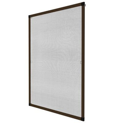 WHITE LABEL - Moustiquaire de fen�tre-WHITE LABEL-Moustiquaire pour fen�tre cadre fixe en aluminium 120x140 cm brun