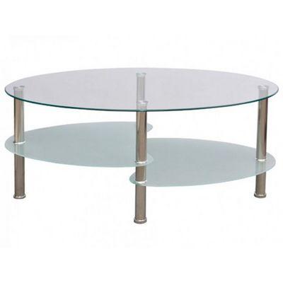WHITE LABEL - Table basse ronde-WHITE LABEL-Table basse design blanche verre