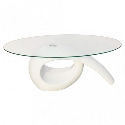 WHITE LABEL - Table basse ronde-WHITE LABEL-Table basse design blanche verre