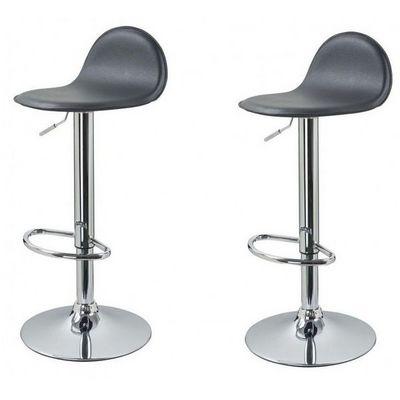 WHITE LABEL - Chaise haute de bar-WHITE LABEL-Lot de 2 Tabourets de bar gris