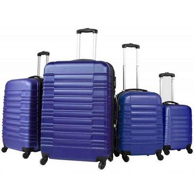 WHITE LABEL - Valise à roulettes-WHITE LABEL-Lot de 4 valises bagage ABS bleu