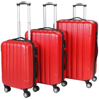 WHITE LABEL - Valise à roulettes-WHITE LABEL-Lot de 3 valises bagage rigide rouge