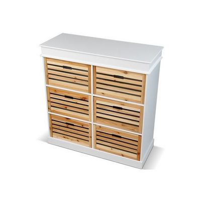 WHITE LABEL - Commode-WHITE LABEL-Commode avec 6 tiroirs bois de sapin