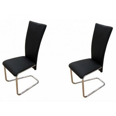 WHITE LABEL - Chaise-WHITE LABEL-2 Chaises de salle a manger noires