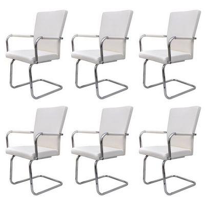 WHITE LABEL - Chaise-WHITE LABEL-6 chaises de salle à manger blanches