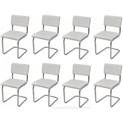 WHITE LABEL - Chaise-WHITE LABEL-8 Chaises de salle a manger blanches