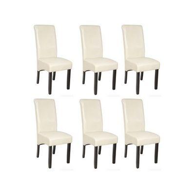 WHITE LABEL - Chaise-WHITE LABEL-6 chaises de salle à manger crème