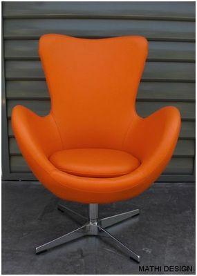 Mathi Design - Fauteuil rotatif-Mathi Design-Fauteuil Cocoon aspect cuir