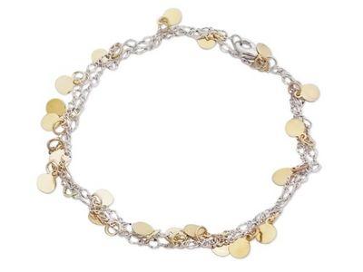 WHITE LABEL - Collier-WHITE LABEL-Bracelet 2 en 1, chaine argentée et palets dorés b