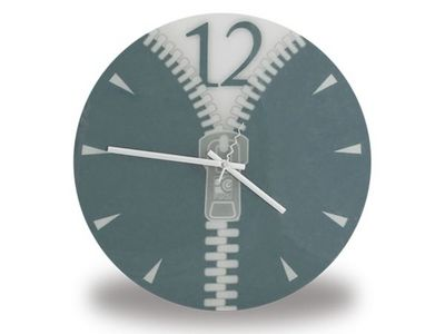WHITE LABEL - Horloge murale-WHITE LABEL-Horloge avec motif Zip grise deco maison design in