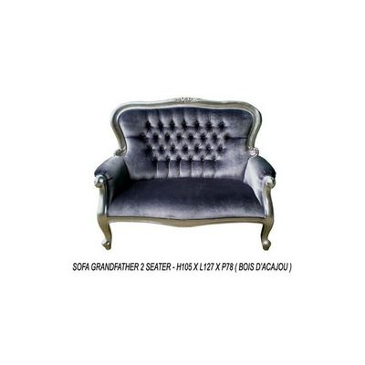 DECO PRIVE - Canapé 2 places-DECO PRIVE-Banquette baroque modele Grandfather tissu gris et