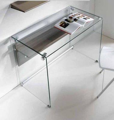 WHITE LABEL - Bureau-WHITE LABEL-Bureau CHARLI design en verre avec une �tag�re en