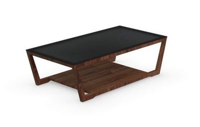 Calligaris - Table basse rectangulaire-Calligaris-Table basse ELEMENT de CALLIGARIS noyer avec plate