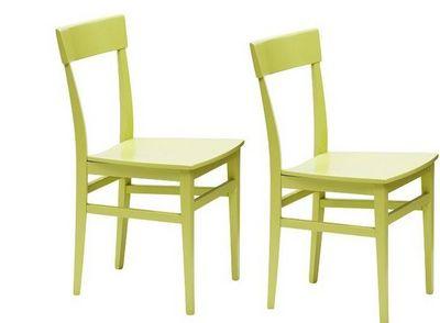 WHITE LABEL - Chaise-WHITE LABEL-Lot de 2 chaises NAVIGLI en hêtre laque vert brill
