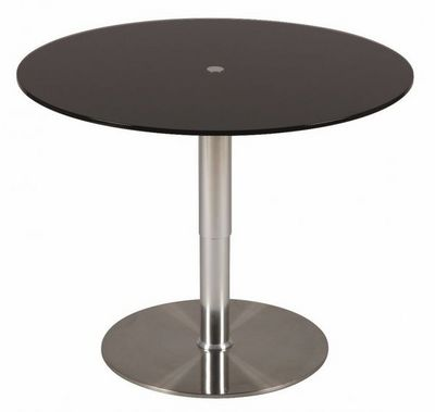 WHITE LABEL - Table de repas ronde-WHITE LABEL-Table relevable ronde SCION en verre noir piétemen