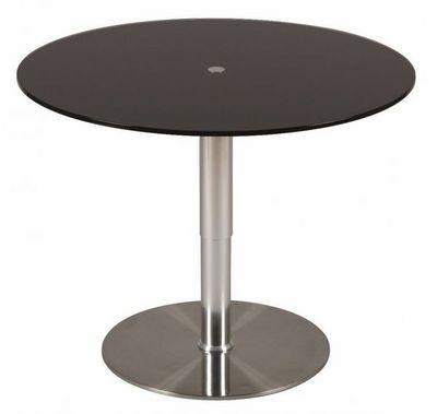WHITE LABEL - Table de repas ronde-WHITE LABEL-Table relevable ronde SCION en verre noir pi�temen