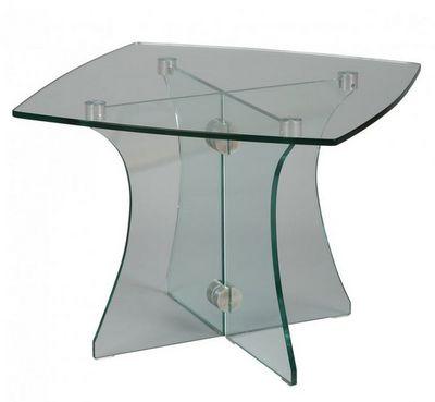 WHITE LABEL - Bout de canapé-WHITE LABEL-Bout de canapé carré ONYX en verre