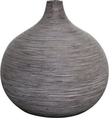 Aubry-Gaspard - Vase à fleurs-Aubry-Gaspard-Vase boule en rotin gris Taille 2