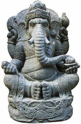 STATUES DU MONDE - Statuette-STATUES DU MONDE-Statue Ganesh assis en basanite