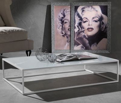 WHITE LABEL - Table basse rectangulaire-WHITE LABEL-Table basse POLIEDRO design en verre extra blanc