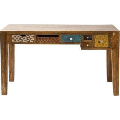 Kare Design - Bureau-Kare Design-Bureau en bois Soleil 6 tiroirs 135x60 cm