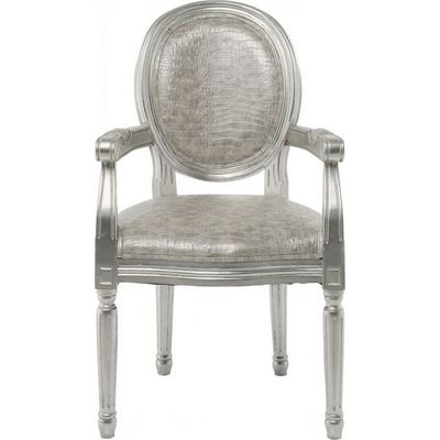 Kare Design - Chaise-Kare Design-Chaise avec accoudoirs Louis Croco argent