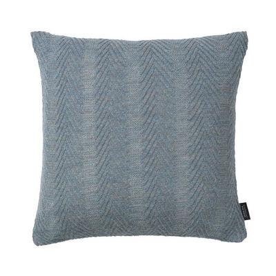LOUISE ROE COPENHAGEN - Coussin carré-LOUISE ROE COPENHAGEN-100% Baby Alpaca Cushion Herringbone Antique Blue