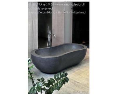 neutra v 35 baignoire poser noir pierre naturelle. Black Bedroom Furniture Sets. Home Design Ideas