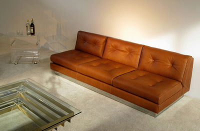 FURNITURE-LOVE.COM - Canapé 3 places-FURNITURE-LOVE.COM-Leather living Sofa 3 + 2 Pierre Folie Charpentier