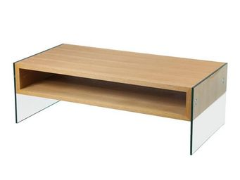 WHITE LABEL - table basse verre et bois - zorg n°2 - l 120 x l 6 - Rectangular Coffee Table