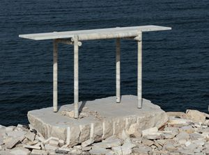 CLEMENT BRAZILLE - ocean travertine - Console Table