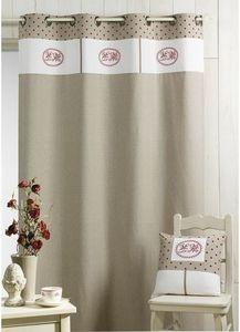 HOMEMAISON.COM - rideau en toile parement haut brodé pois et imprim - Eyelet Curtain