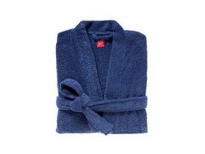 BLANC CERISE - peignoir col kimono - coton peigné 450 g/m² indigo - Bathrobe