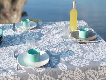 FLEUR DE SOLEIL - nappe enduite hortensia gris 160x160 - Square Tablecloth
