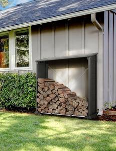 Chalet & Jardin - abri bûches double paroi 1 stère en résine noire - Fire Wood Shed