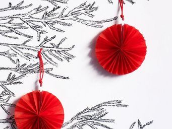 MY LITTLE DAY - 4 mini rosaces rouges - Christmas Tree Decoration