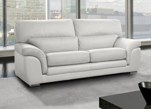 WHITE LABEL - cloe canapé 3 places cuir vachette blanc - 3 Seater Sofa