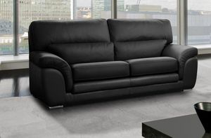 WHITE LABEL - cloe canapé 3 places cuir vachette noir - 3 Seater Sofa