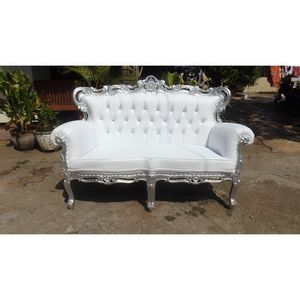 DECO PRIVE - sofa baroque blanc et bois argenté french sofa - 2 Seater Sofa