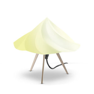 Moustache - chantilly - lampe à poser bois & jaune h28cm | lam - Table Lamp
