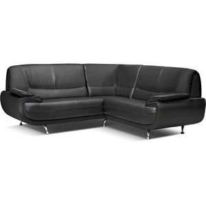 WHITE LABEL - canapé d?angle design en simili cuir noir - Adjustable Sofa