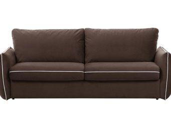 WHITE LABEL - canapé fixe linus 2-3 places marron - 2 Seater Sofa