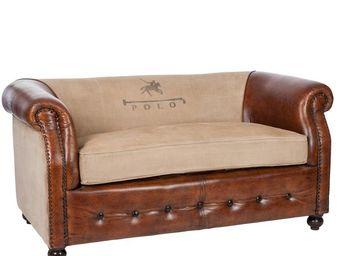 WHITE LABEL - canapé 2 places cuir et coton - polo - l 145 x l 8 - 2 Seater Sofa