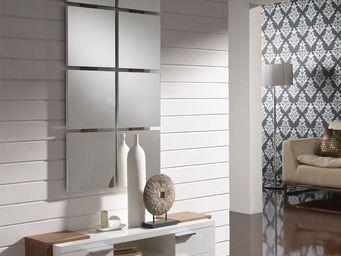 WHITE LABEL - meuble d\'entrée blanc/noyer + miroir - nave - l -